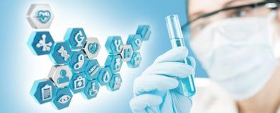 Descobertas no biomedical e na pesquisa da microbiologia ilustração do vetor