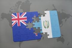 Desconcierte con la bandera nacional de Nueva Zelanda y de Guatemala en un fondo del mapa del mundo ilustración 3D Foto de archivo