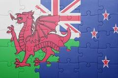 Desconcierte con la bandera nacional de País de Gales y de Nueva Zelanda Fotos de archivo