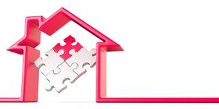 Desconcierte en la casa hecha de la línea roja 3D stock de ilustración