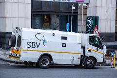 Desconte dentro o trânsito Van em Joanesburgo foto de stock royalty free