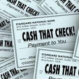 Desconte esse serviço conveniente rápido da pilha do pagamento de dinheiro da verificação Fotos de Stock Royalty Free