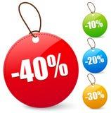 Desconte etiquetas com 40, 10, 20, 30 por cento Fotos de Stock