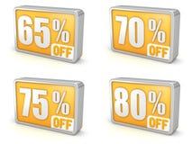 Desconte o ícone da venda 3d de 65% 70% 75% 80% no fundo branco Fotografia de Stock Royalty Free