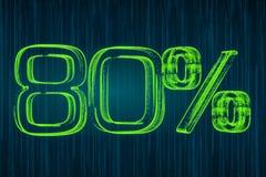 Desconte o conceito, inscrição luminosa de 80 por cento, rendição 3D Fotografia de Stock Royalty Free