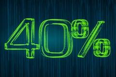 Desconte o conceito, inscrição luminosa de 40 por cento, rendição 3D Foto de Stock Royalty Free