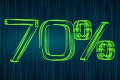 Desconte o conceito, inscrição luminosa de 70 por cento, rendição 3D Fotos de Stock