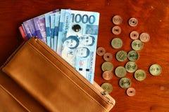 Desconte o dinheiro em uma carteira de couro e em moedas Fotografia de Stock Royalty Free