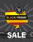 Desconto especial preto da bandeira do molde da venda de sexta-feira até 50% fora Fotografia de Stock Royalty Free