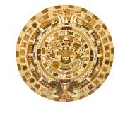 Descrição asteca do calendário em um painel de madeira Fotos de Stock