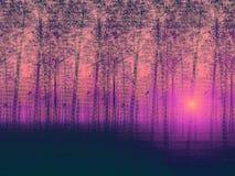 Descrição pintada artística da exploração agrícola de árvore ajardinada do poplar e da exploração misteriosa Fotografia de Stock Royalty Free
