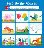 Describe Picture with Animal and Object Kid Game. Tell Quantity and Color on Drawing. Children Exercise for Preschool Education. Learning Playing and Think royalty free illustration