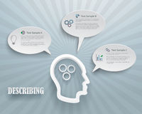 Describing Options Infographic Background. Abstract infographic representation of describing options. Heads with gears and speech bubbles on a blue background royalty free illustration