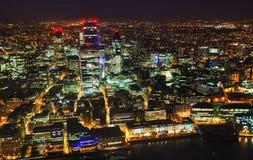 Descripción aérea de la ciudad del ddistrict financiero de Londres Imagen de archivo libre de regalías