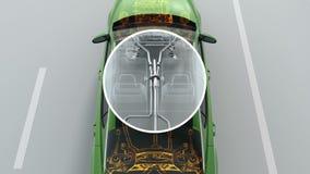 Descripción abstracta de la estructura del coche de la ciudad durante la conducción de la visión 4K stock de ilustración