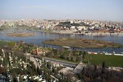 Descripción de Estambul y del cuerno de oro (Halic) Foto de archivo libre de regalías