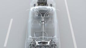 Descripción de la estructura del coche de la ciudad durante la conducción de la visión superior 4K stock de ilustración