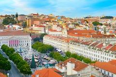 Descripción del cuadrado de Rossio Lisboa, Portugal Foto de archivo