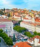 Descripción del cuadrado de Rossio Lisboa, Portugal Fotos de archivo libres de regalías