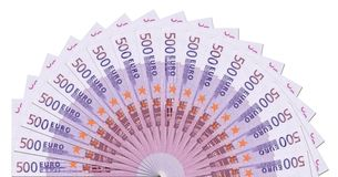 Descripteur d'en demi-cercle de 500 euro notes Image stock