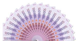 Descripteur d'en demi-cercle de 500 euro notes image stock