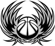 Descripteur de basket-ball avec des ailes Photo stock