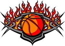 Descripteur de bille de basket-ball avec l'image de flammes Image stock