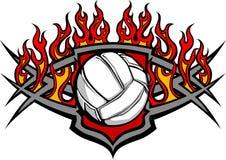 Descripteur de bille de volleyball avec l'image de flammes illustration de vecteur