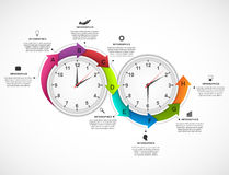 Descripteur de conception d'Infographics Chronomètre avec une flèche circulaire et l'horloge à l'intérieur illustration stock