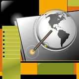 Descripteur de conception de Web d'Internet de crayon lecteur de globe d'affaires Image stock