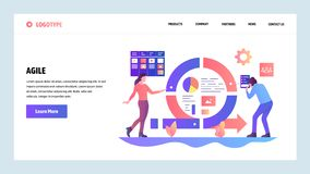 Descripteur de conception de site Web de vecteur Conseil gestion des projets et de tâche agiles de bousculade Développement de lo illustration libre de droits