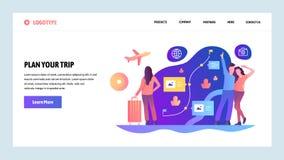 Descripteur de conception de site Web de vecteur Prévoyez votre voyage et allez voyage Itinéraire surfaçant et réservant Concepts illustration de vecteur