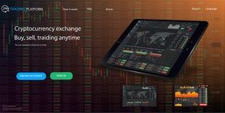 Descripteur de site Web Les forex lancent sur le marché, des actualités et analyse Option binaire Écran d'application pour le com Images stock
