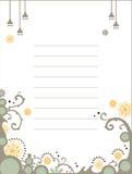 Descripteur floral de cahier Images stock