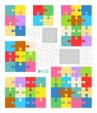 Descripteurs de blanc de puzzle denteux, configurations colorées Photographie stock
