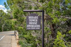 A description board for the cliff dwellings in Mesa Verde National Park royalty free stock photos