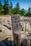 A description board for the trail in Acadia National Park, Maine. Acadia National Park, ME, USA - August 15, 2018: The Beech Cliff Trail stock image