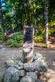 A description board for the trail in Acadia National Park, Maine. Acadia National Park, ME, USA - August 15, 2018: The Beech Cliff Loop Trail royalty free stock images