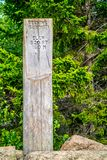 A description board for the trail in Acadia National Park, Maine. Acadia National Park, ME, USA - August 15, 2018: The Beehive Summit point of elevation royalty free stock photos
