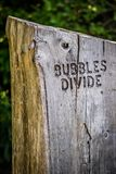 A description board for the trail in Acadia National Park, Maine. Acadia National Park, ME, USA - August 15, 2018: The Bubbles Divide Trail stock image