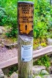 A description board for the trail in Acadia National Park, Maine. Acadia National Park, ME, USA - August 15, 2018: The Champlain South Ridge Trail stock photo