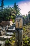 A description board for the trail in Acadia National Park, Maine. Acadia National Park, ME, USA - August 15, 2018: The Gorham Mountain Trail royalty free stock photos