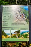 A description board for the trail in Acadia National Park, Maine. Acadia National Park, ME, USA - August 15, 2018: The Precipice Trail royalty free stock images