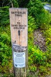 A description board for the trail in Acadia National Park, Maine. Acadia National Park, ME, USA - August 15, 2018: The Satterlee Trail royalty free stock photo