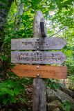 A description board for the trail in Acadia National Park, Maine. Acadia National Park, ME, USA - August 15, 2018: A signage post for different tourist stock images
