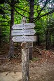 A description board for the trail in Acadia National Park, Maine. Acadia National Park, ME, USA - August 15, 2018: A signage post for different tourist royalty free stock photo