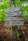 A description board for the trail in Acadia National Park, Maine. Acadia National Park, ME, USA - August 15, 2018: A signage post for different tourist royalty free stock image