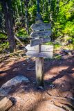 A description board for the trail in Acadia National Park, Maine. Acadia National Park, ME, USA - August 15, 2018: A signage post for different tourist stock photography