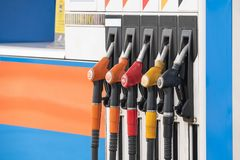 Close up nozzle fuel at gas station stock photography