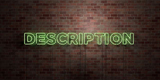 DESCRIPTION - fluorescent Neon tube Sign on brickwork - Front view - 3D rendered royalty free stock picture Royalty Free Stock Photo